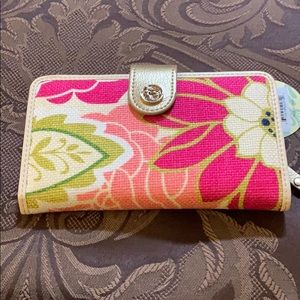 NWT Spartina Wallet - Linen & Leather